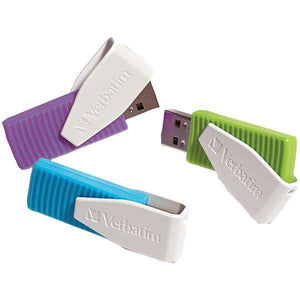 Verbatim(R) 98426 Store 'n' Go(R) Swivel USB Drives (8GB; 3 pk; Blue-Green-Violet)