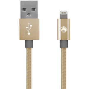 at tr sc03b lgt gld charge sync braided usb to lightningr cable 4ft gold