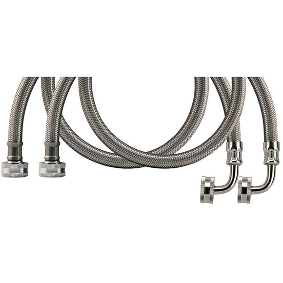 Certified Appliance Accessories(r) Certified Appliance Accessories(R) WM60SSL2PK 2 pk Braided Stainless Steel Washing Machine Hoses with Elbow, 5ft