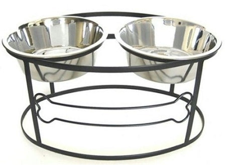 PetsStop Bone Raised Double Dog Bowl   Large/Black