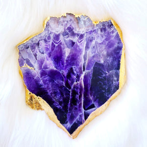 Amethyst Platter with 24K Gold Plating - Small