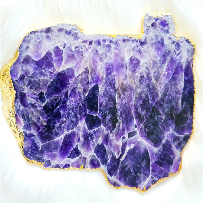 Amethyst Platter with 24K Gold Plating - Large