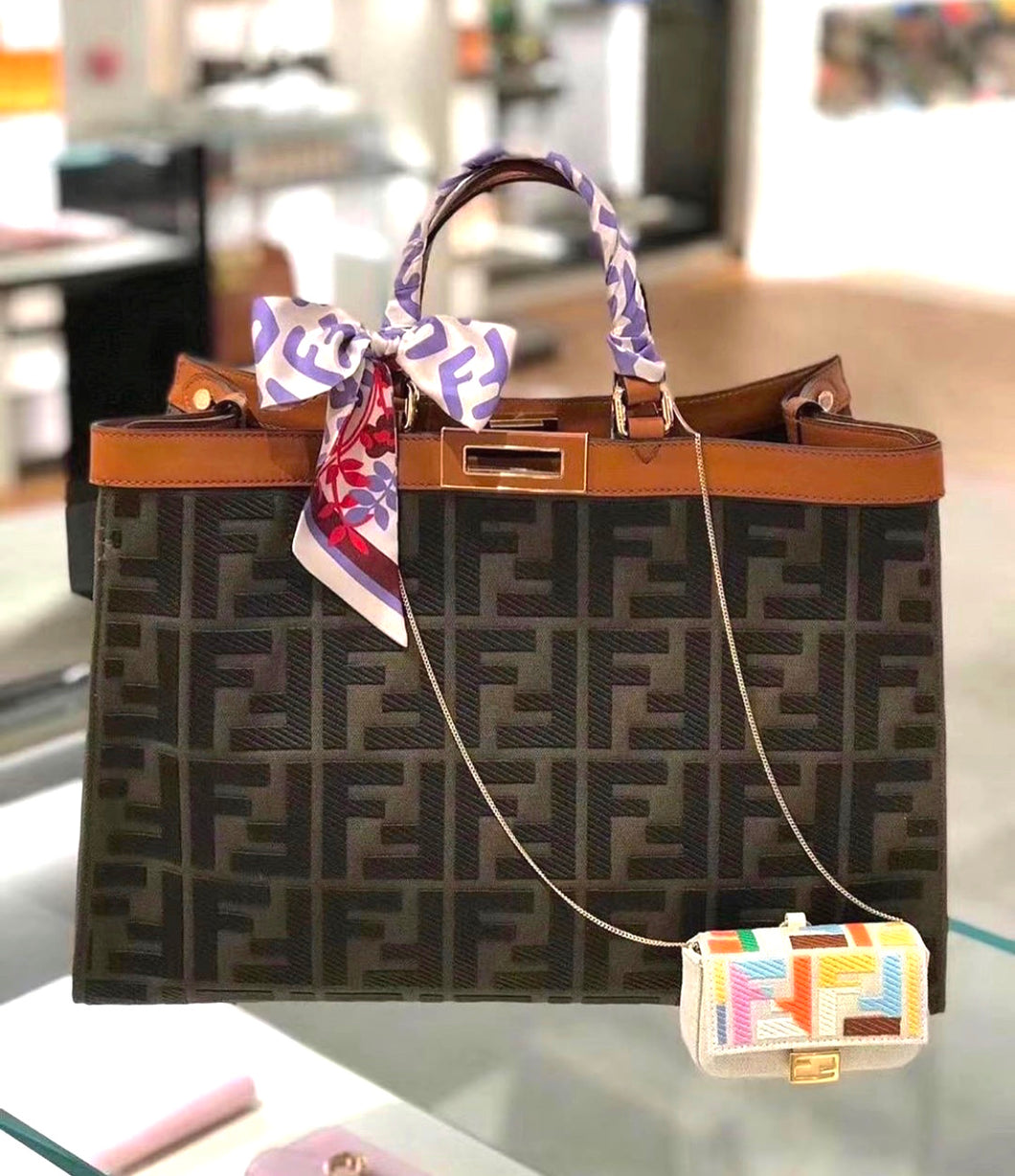 Fendi Inspired Medium Peekaboo X-Lite Canvas Tote Bag