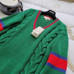 Gucci Inspired Cable Knit V Neck Sweater