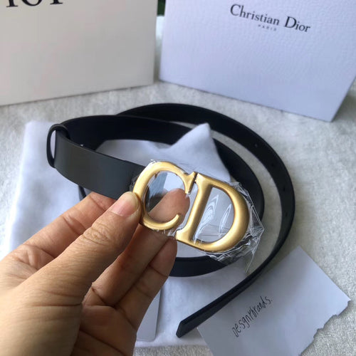 Dior Inspired Leather Logo Belt