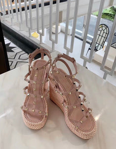 Valentino Inspired Rockstud 120mm Wedge Espadrilles
