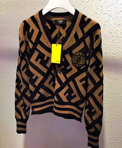 Fendi Inspired Knit V Neck Sweater