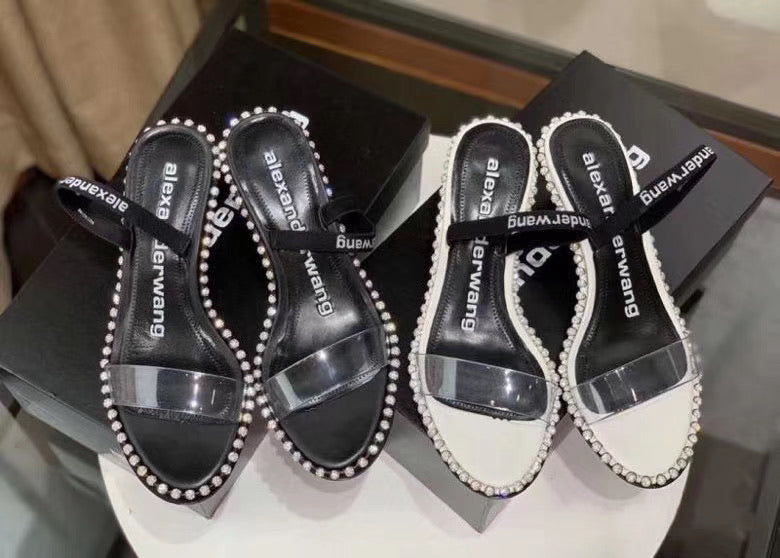 Alexander Wang Inspired Nova Crystal Studded Clear Sandal