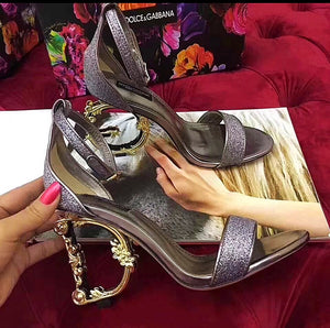 Dolce Gabbana Inspired Lurex Sculptured Heel Sandal