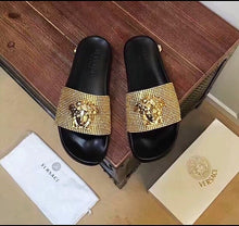 Versace Inspired Medusa Crystal Slides