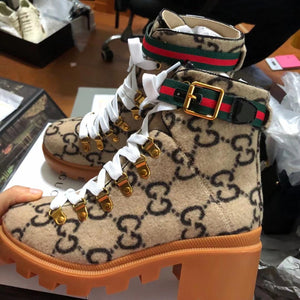 Gucci Inspired Trip G Monogram Wool Ankle Boots