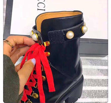 Gucci Inspired Pearl Leather Ankle Boots