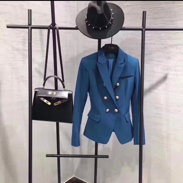 Balmain Inspired Classic Blue Double Breasted Military Blazer