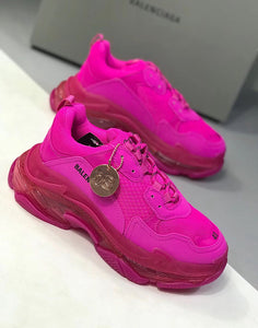 Balenciaga Inspired Neon Pink Triple S Sneakers