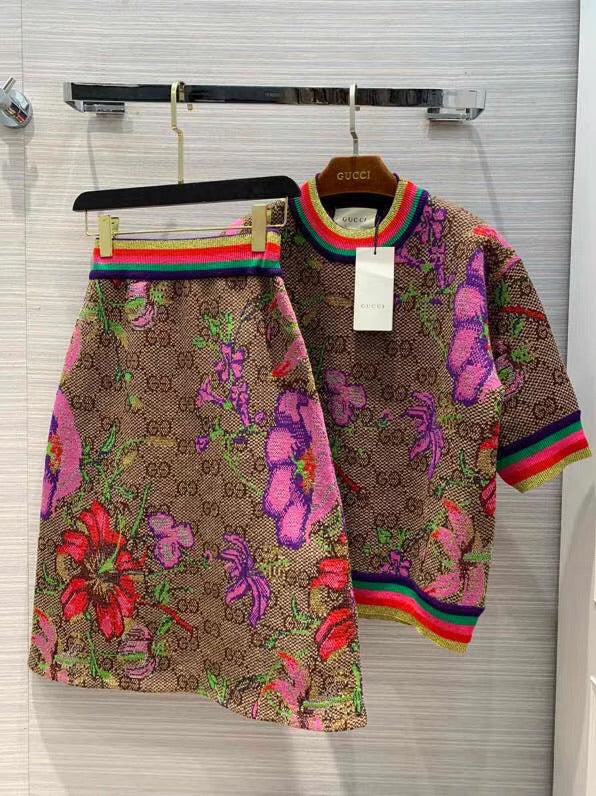 Gucci Inspired Flora Wool Jacquard Top