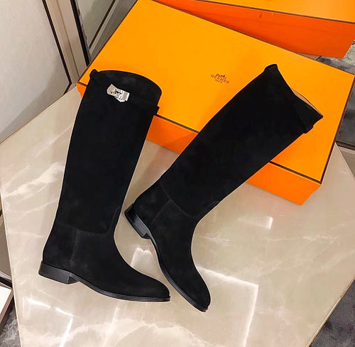 Hermes Inspired Suede Kelly Jumping Boots