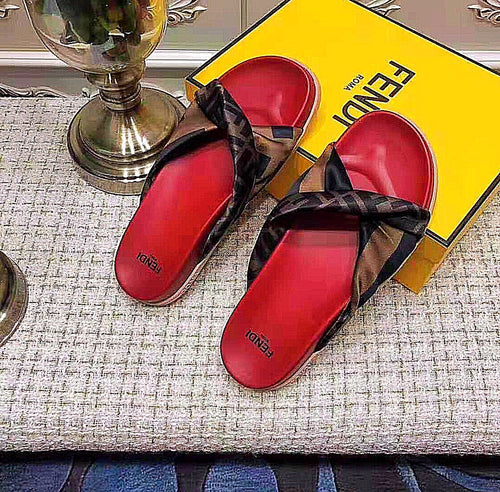 Fendi Inspired Print Knotted Slides