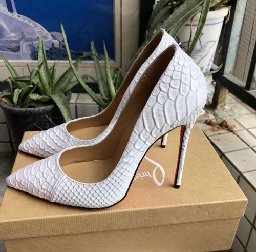 Christian Louboutin Inspired White Classic Pigalle Python Pumps
