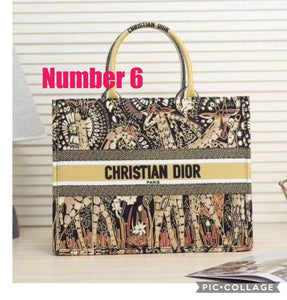 Christian Dior Inspired Embroidered Canvas Book Tote