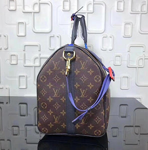 """Linda"" Keepall Bandouiere Monogram/Taiga 55 Brown/Blue Leather Travel Bag"