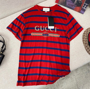 Gucci Inspired Red Logo Striped T Shirt
