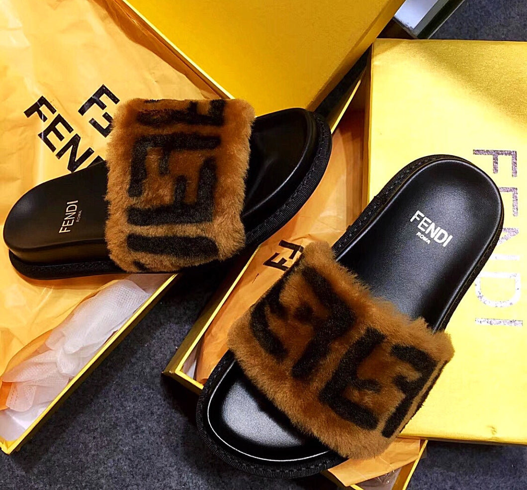 Fendi Inspired Leather and Sheepskin Shearling  Fur Slides