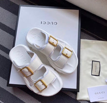 Gucci Inspired Leather Buckle Slides