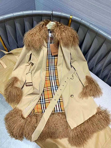 Burberry Inspired Shearling Trim Cotton Gabardine Belted Trench Coat