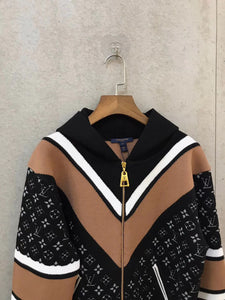 Louis Vuitton Inspired Jacquard Zip Up Knit Hoodie