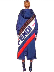 Fendi Inspired Blue Mania Nylon Hooded Coat