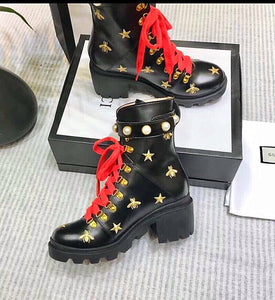 4b779d2017f Gucci Inspired Pearl Flat Trip Leather Bee and Star Ankle Boots
