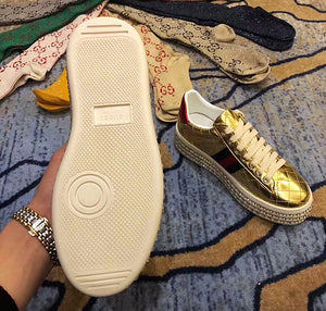 Gucci Inspired Metallic Quilted Ace Crystal Platform Sneakers