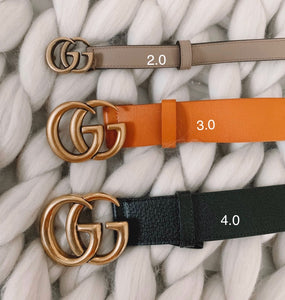 Gucci Inspired Double Black Leather Belt