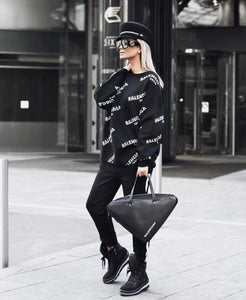 Balenciaga Inspired All Over Logo Wool Sweater