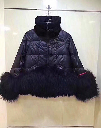 Moncler Inspired Grenoble Lamb Fur Trimmed Padded Jacket
