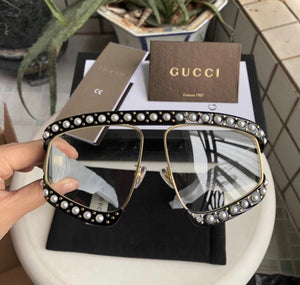 Gucci Inspired Black Butterfly Pearl Studded Oversize Acetate Sunglasses