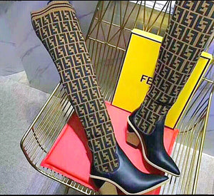 Fendi Inspired Stocking and Leather Thigh High Boots