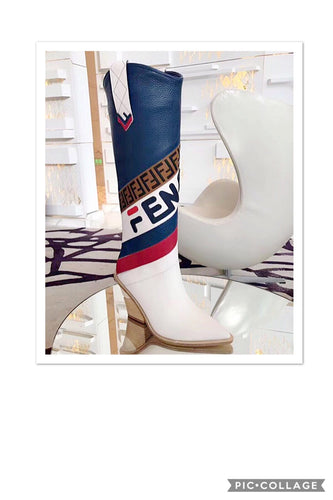 Fendi Inspired Mania Leather Knee Cowboy Boots