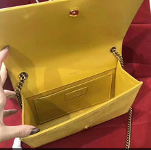 YSL Inspired Yellow Suede Kate Monogram Tassel Clutch Handbag