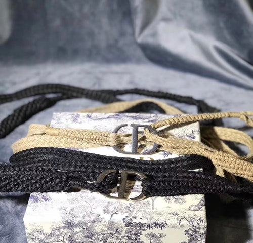Dior Inspired Jute Canvas DiorNatural Belt