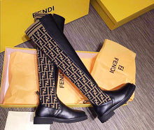 Fendi Inspired Stocking and Flat Leather Thigh High Boots