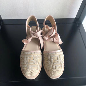 Fendi Inspired Raffia Espadrille With Laces
