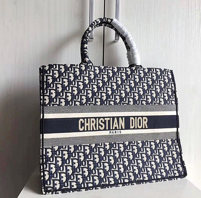 Christian Dior Embroidered Canvas Book Tote