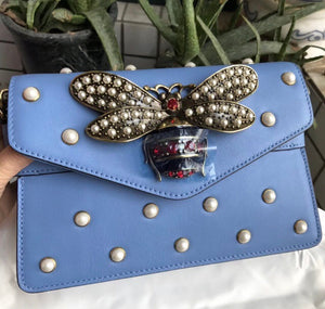 Gucci Inspired Blue Broadway Pearl Clutch Handbag