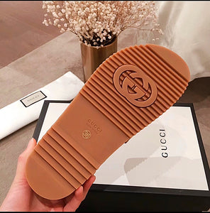 Gucci Inspired Angelina Logo Canvas Flatform Slides