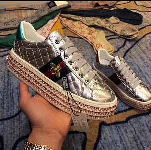 f5310fc282d Gucci Inspired Metallic Quilted Ace Crystal Platform Sneakers