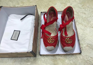 Gucci Inspired Pilar Logo Leather Wedge Espadrilles