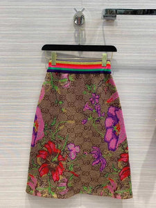 Gucci Inspired Flora Wool Jacquard Skirt