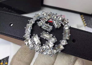 Gucci Inspired Black Crystal Embellished Double G Logo Belt