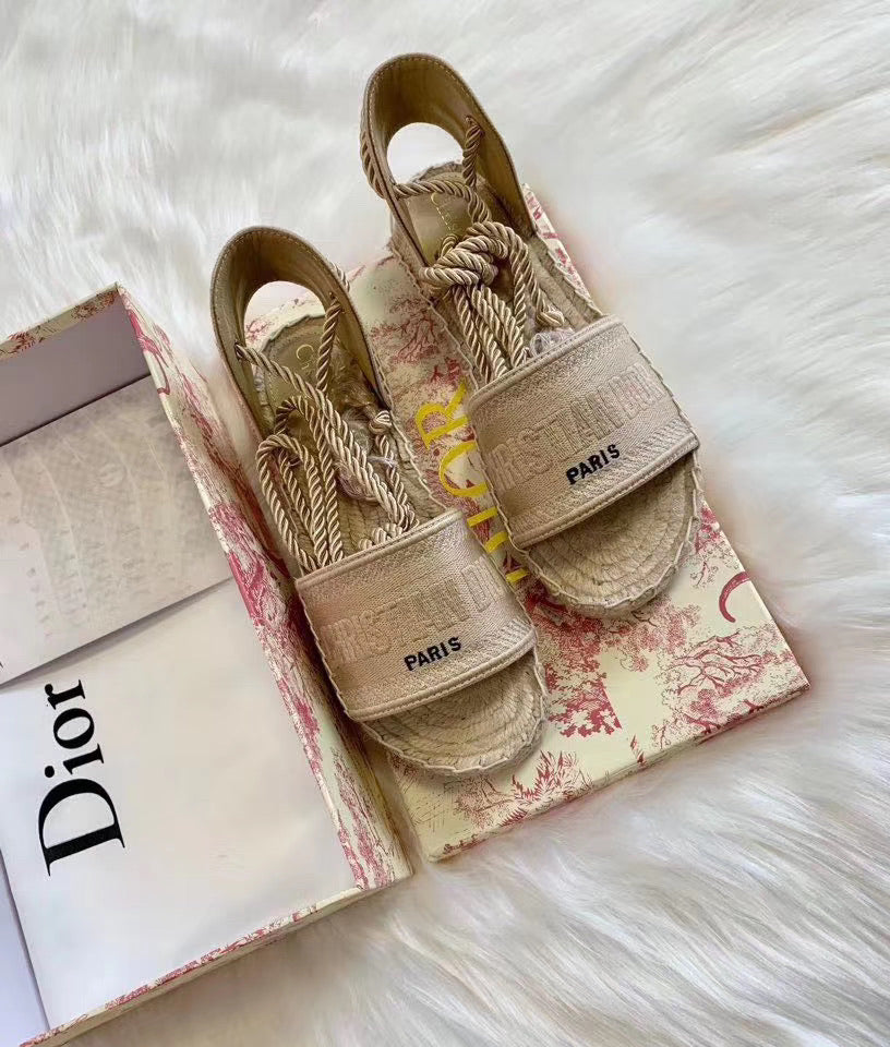 Dior Inspired Granville Embroidered Lace Up Sandals